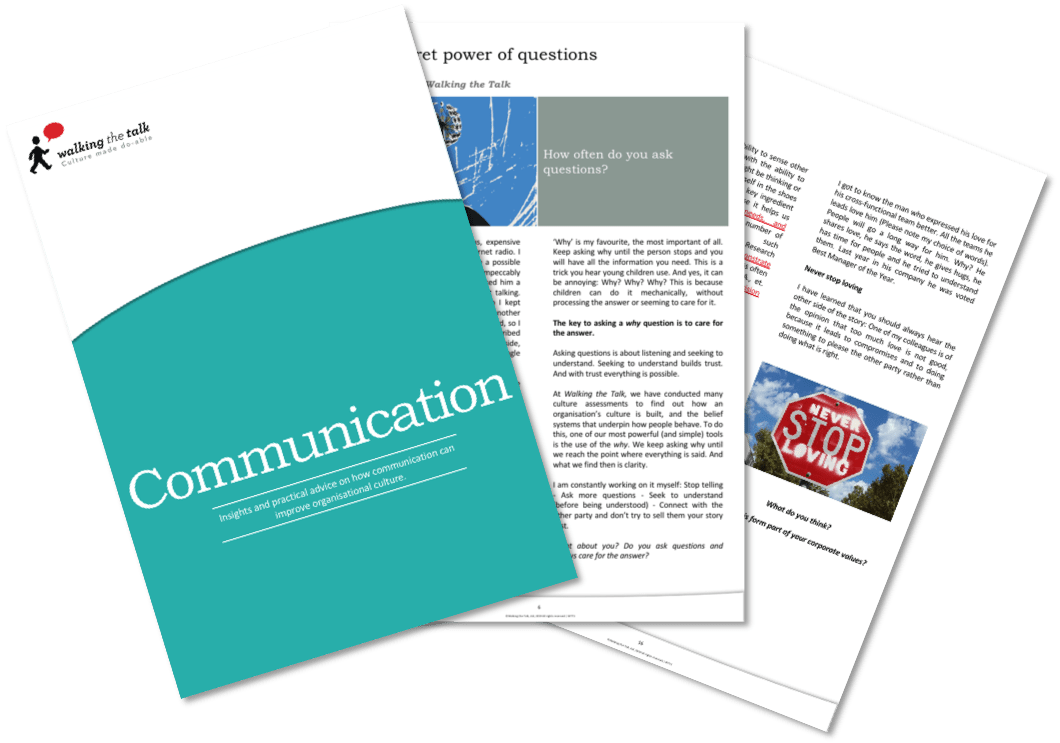 Download the Walking the Talk Communication eBook including articles by Executive Chair Carolyn Taylor and Executive Directors Amanda Fajak, and Jerome Parisse-Brassens.